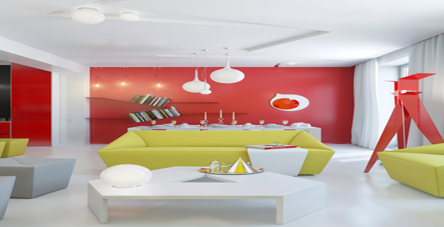 House tours red white yellow open plan living