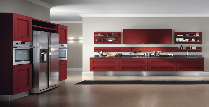 Sweet Red And White Contemporary Retroal Kitchen Design